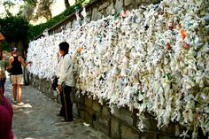 We put our hankies on the wishing wall in the House of Virgin Mary in Ephesus, Turkey