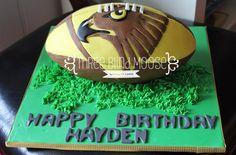 Hawks AFL football boys birthday cake.  Three Blind Moose Specialty Cakes, Korumburra