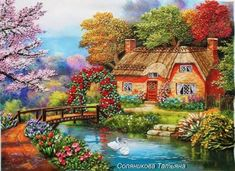 A 70 pieces jigsaw puzzle from Jigidi Bird Paintings On Canvas, Scenery Paintings, Country Paintings, Painting Kids Furniture, Kid Furniture, Plywood Furniture, Bedroom Furniture, Furniture Design, Cottage Art