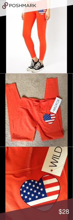 NWT Wildfox Heart legging Deep orange legging with patriotic heart on lef. Size XS Wildfox Pants Leggings