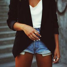 blazer over plain white shirt and  denim shorts
