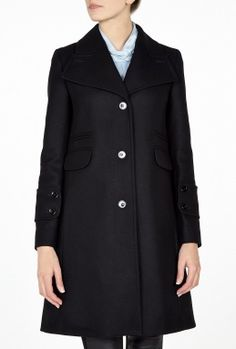 Black Compact Wool Single Button Coat by Carven
