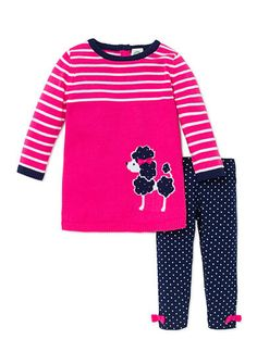 This precious set features a cute poodle tee with complementing polka dot leggings. Little bows on the cuffs of the leggings add extra girly appeal. Polka Dot Leggings, French Poodles, Little Bow, Girly, Sweatshirts, Tees, Cute, Sweaters, Dresses