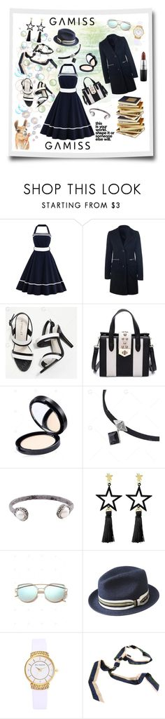"""""""navy & white 1950s swing thing feeling"""" by caroline-buster-brown ❤ liked on Polyvore featuring Bailey of Hollywood and MAC Cosmetics"""