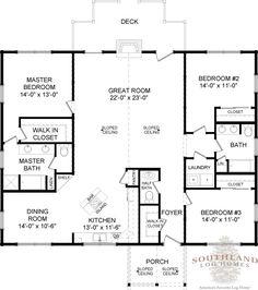 First Floor Plan of Bailey II Log Home