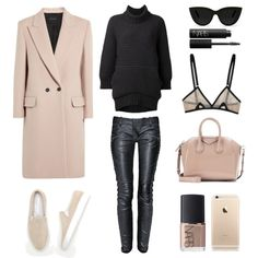 Blush and Black by fashionlandscape on Polyvore featuring Mode, Chalayan, Cédric Charlier, Balmain, Common Projects, Givenchy, Quay and NARS Cosmetics
