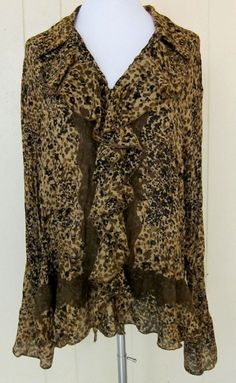Allison Taylor Animal Print Sheer Pleats Crinkly Long Sleeve Women's Size 2X Top #AllisonTaylor #Blouse