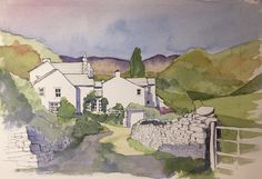 A piece from my recent watercolour workshop for Gosport Art Society in Cumbria. Thus is the village of Troutbeck in the Lake District . Watercolor Architecture, Watercolor Landscape, Landscape Paintings, Landscape Art, Landscapes, Arts And Crafts Storage, Arts And Crafts House, Craft House, Watercolor Sketch