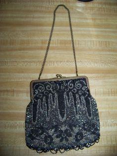 Vintage 1920's Beaded Flapper Depression Era Purse Handbag Suede interior | eBay