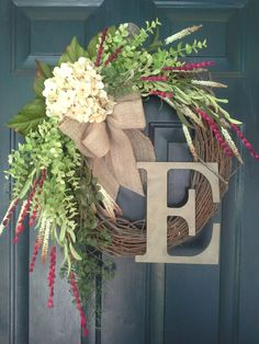door wreath, wreath, spring wreath, hydrangea, monogram wreath, burlap, chevron, red wreath, by AutumnWrenDesigns on Etsy https://www.etsy.com/listing/190029302/door-wreath-wreath-spring-wreath