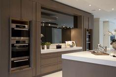 smoked glass backsplash | Panache | Kitchens