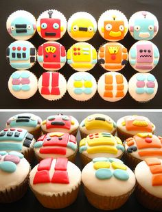 robot cupcakes for Charlie's first birthday! Construction Birthday Parties, 6th Birthday Parties, Baby First Birthday, Birthday Bash, Birthday Ideas, Robot Cupcakes, Robot Cake, Yummy Cupcakes, Mad Scientist Party