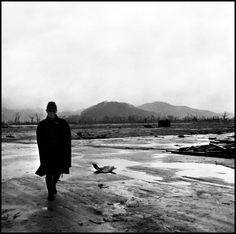 JAPAN. Hiroshima. September 8, 1945. Center of atomic bomb blast. Japanese soldier walks through site where army barracks once stood in the center of town.Wayne Miller/Magnum Photos