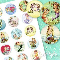 Mermaid Images, Image Sheet, Vintage Mermaid, Mermaid Birthday, Collage Sheet, I Am Happy, Mermaids, Decorative Plates, Scrapbook