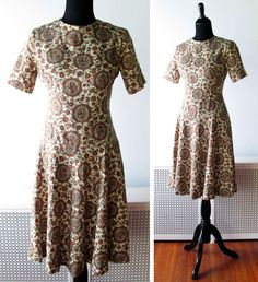 1960s Dress // Floral Earth Tones 1960s Day by myVintageValentine, $42.00
