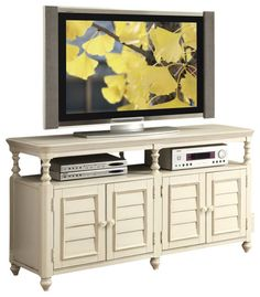 Riverside Furniture Placid Cove Louver TV Console in Honeysuckle White beach-style-media-storage