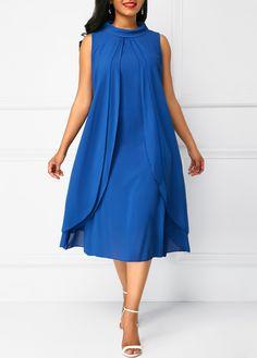 Stylish Royal Blue Layered Sleeveless Chiffon Dress Source by rosewecom Dresses For Sale, Summer Dresses, Party Dresses, Royal Blue Dresses, Fashion 101, Chiffon Dress, New Dress, Casual Wear, Satin