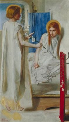 """Ecce Ancilla Domini (Latin: """"Behold the handmaiden of the Lord""""), or The Annunciation, is an oil painting by the English artist Dante Gabriel Rossetti, first painted in 1850 and now in Tate Britain in London. Dante Gabriel Rossetti, Gottfried Helnwein, Pre Raphaelite Paintings, John Everett Millais, Christina Rossetti, Pre Raphaelite Brotherhood, Tate Gallery, Victorian Art, Modern Artists"""