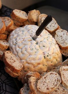 Brain Dip: Ew! This frightful brain dip looks almost too real to eat.  Source: Chickabug