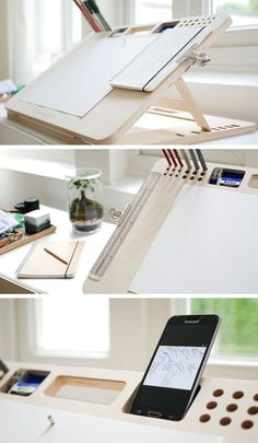 Woodworking Projects My Drawing Board - ergonomic, adjustable, art board with organizational features. Drawing Desk, Drawing Board, Drawing Tables, Drawing Rooms, Bureau D'art, Wood Projects, Woodworking Projects, Fine Woodworking, Green Woodworking
