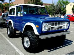 Blue and white two tone Ford Bronco small SUV