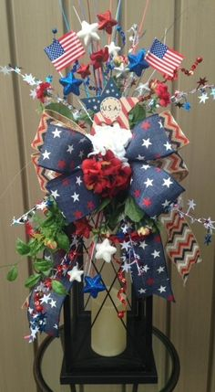 AMERICAN SPIRIT - Festive Patriotic 4th of July, Memorial Day, Labor Day Holiday Lantern Swag Decoration