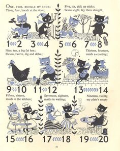 One, Two, Buckle My Shoe –  A page from a vintage children's book illustrated by Esme Eve, 'Mother Goose Nursery Rhymes'.