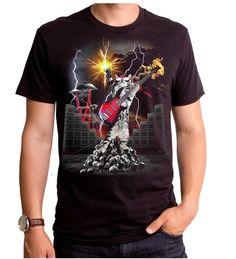 108d24c5997 Cat Playing Electric Guitar Heavy Metal Cat Adult T-Shirt S M L Xl 2Xl Top  Goodie