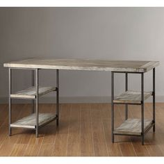 I'm imagining a DIY project with plumbing pipe, inspired by this Renate Desk | Overstock.com
