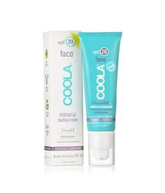 COOLA Suncare Natural Mineral Skincare-1.7oz MineralFace SPF 20 Lotion Unscented Bath and Body Skincare by Coola. $36.00. Hypoallergenic     Paraben Free     Ultra Sheer     Anti-Aging     Water Resistant (40 minutes)     No nano-sized particles. This unscented version of our natural mineral, sheer SPF 20 sunblock will hydrate and protect your sensitive facial skin. Organic Cocoa and Shea Butters will sooth and moisturize, keeping frisky fine lines at bay. The super antioxidan...
