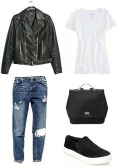 Moto jacket, white tee, boyfriend jeans, black sneakers