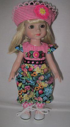 """Mary Englebriet Print Romper & Hat for 10"""" Tonner Patsy Ann Estelle Half Pt Doll"""