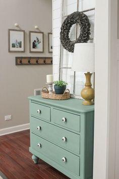 Delightfully Farmhouse Flavored Home Tour - Aqua Painted Dresser Entry Hallway