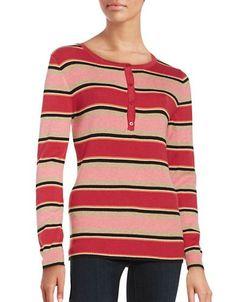 Imnyc Isaac Mizrahi Ribbed Henley Sweater Women's Grey Medium