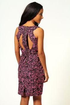 Una Neon Animal Print Open Back Peplum Dress £25 >> http://www.boohoo.com/evening-dresses/una-neon-animal-print-open-back-peplum-dress/invt/azz56049