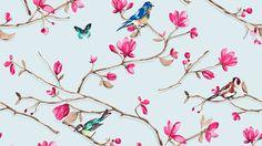 Kukkia, lintuja ja perhosia tapetissa Finnish wallpaper