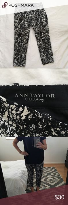 Ann Taylor Chelsea Crop Pants 2P Fun marble-paint splatter look black and white crop pants. Size 2 petite. Worn a handful of times and shows no wear. Invisible zipper on side with poop clasp closure. See last picture for crop length. Fun work staple! Ann Taylor Pants Capris