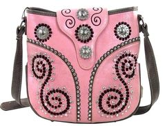32d9cdbc54 Montana West~Western Bling Concho Swirl Messenger Bag~Conceal Carry~Purse ~Pink