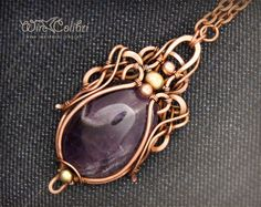 Amethyst stone pendant necklace, wire wrapped jewelry handmade, purple, copper necklace. $110.00, via Etsy.