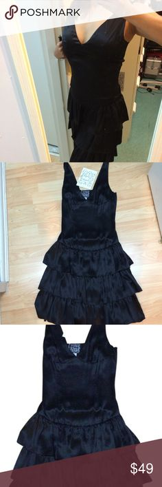 """NWT Cynthia Rowley Black Silk Ruffle DRESS Size 2 New With TAG Cynthia Rowley Black Silk Ruffle DRESS Size 2.  Super cute dress with 2 tier ruffles and a sexy v-neck in luscious silk.  Dropped Waist look.  Side zipper Closure. Approx Measurements made lying flat un-stretched: 37""""- Top to bottom 15"""" Armpit to Armpit Each Ruffle is 6"""" width Widest part of dress: 13""""in Cynthia Rowley Dresses Mini"""