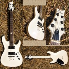 SCHECTER BLACKJACK ATX C-1 [custom]  Body.   : Mahogany (solid) Neck.   : Maple trussrod  Pickup : Japan humbacker  Bridge. : Cosmo  Finishing : Aged white  Strings.   : Ernie ball 0.10