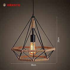 ShengYe Rustic Style Ceiling Pendant Lamp Chandeliers antique shops cafes restaurants Sisal Twine hanging chandelier in the middle of the road straw hat