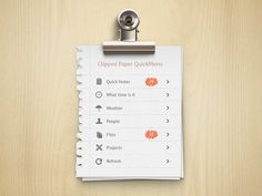 Clipped Paper Menu