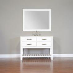 "Alya Bath FW-8017-48-NT-W 48"" White Single Contemporary Bathroom Vanity   Optional Counter Top"