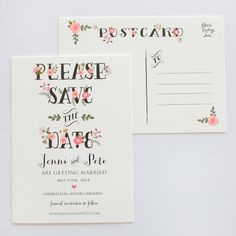 Catherine Save The Date Postcard - Minimum of 50 Save The Date Invitations, Save The Date Postcards, Save The Date Cards, Wedding Invitations, Typography Invitation, Invitation Paper, Invitation Design, Invite, Wedding Stationery Inspiration
