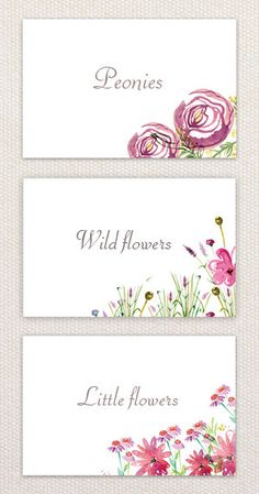 Watercolor flowers place cards  pack of 12  by SabrisStudio, $7.00