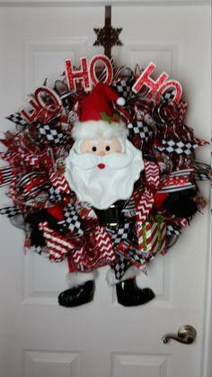 Deco Mesh Santa Christmas Wreath Red/Black/White by WreathsbyCrazyLady on Etsy