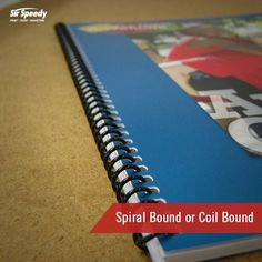 Types of Book Binding-Spiral Bound or Coil Bound Spiral Book Binding, Coil Binding, Types Of Books, Tools, Projects, Log Projects, Instruments, Blue Prints