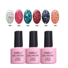 AIMEILI Soak Off UV LED Gel Nail Polish Multicolor / Mix Color / Combo Color Set Of 6pcs X 10ml - Kit Set 6 *** Read more reviews of the product by visiting the link on the image.