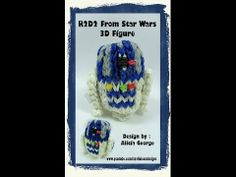 Rainbow Loom R2D2 (Star Wars). Designed by Alicia George. Tutorial and looming by Kate Schultz of Izzalicious Designs. Click photo for YouTube tutorial. 05/29/14.